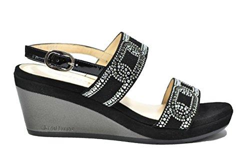 Melluso Sandali zeppa nero scarpe donna R7608 34