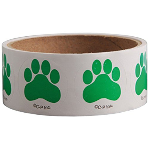 Lot Of 100 Green Dog Puppy Paw Print Stickers