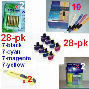 A great deal, 28-pk LC51 LC-51 (7-Black 7-Cyan 7-Magenta 7-Yellow) +(2) 12 digit solar calculator + 10 ball pen + (2) cutter, snap off, + 8-pk AA batteries, great Value........!!!!...Brother Compatible Ink Cartridges for Brother MFC240C, DCP130C, MFC-5460