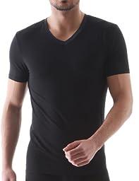 David Archy men\'s 3 Pack micromodal Slim Fit V-neck T-shirt(S,Black)