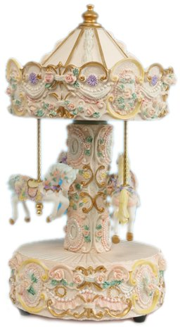 MusicBox Kingdom 14059 Beige Carousel Music Box Playing