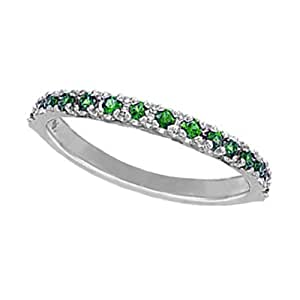 amazon   14k white gold emerald stackable ring 14k