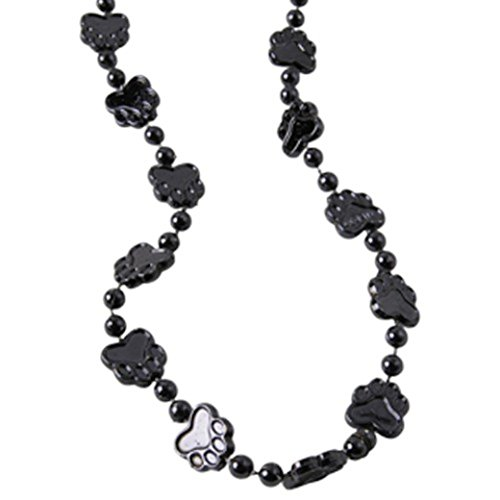 Dozen Black Metallic Paw Print Design Plastic Beaded Necklaces - 32""