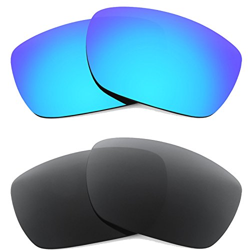 New SEEK OPTICS Replacement Lenses for Oakley TINFOIL - Polarized Black & Blue Mirror