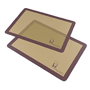 (x2) Premium Silicone Non Stick Baking Mat Set - Professional Grade Baking Mats Save Time... by Seraphina's Kitchen