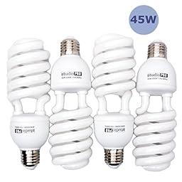 StudioPRO 4x 45W Bulb Full Spectrum CFL Photo Video Light, 5500K Daylight, 4 Pack