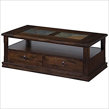 Sunny Designs Santa Fe Coffee Table with 2 Drawers and Casters in Dark Chocolate