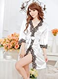 Sexy Lingerie plus size open front sleepwear silk white noble elastic short skirt type pajamas sexy bathrobe underwear charming teddy