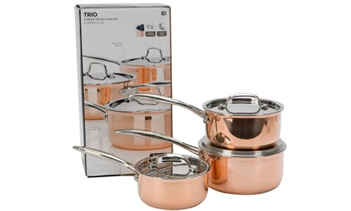 Ethos Tri Ply Copper Based Saucepan Set Gift Boxed, 3 Piece
