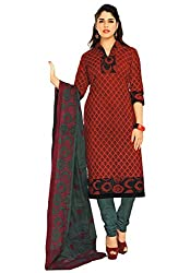Azy Fabrics Women's Cotton Dress Material(327_FT_Brown)