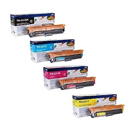 Brother Lot de 4 cartouches de toner pour Brother HL 3140CW, TN-241  Noir Cyan Jaune Magenta + 500feuilles de papier 80g Blanc