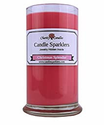 Christmas Splendor Candle Sparkler w/ .925 Sterling Silver Jewelry Inside