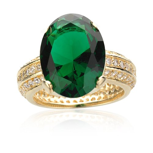 BRASS SIMULATED OVAL EMERALD ETERNITY RING IN GP