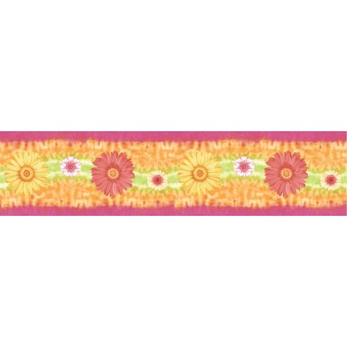 Blue Mountain Wallcoverings SR129406 Just for Kids Gerber Self-Stick Daisy Wall Border