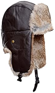 Mad Bomber Leather Bomber Cap with Real Fur, Brown, Medium