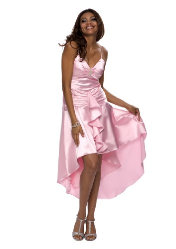 Astrapahl, Abendkleid aus Satin, Zierbrosche, Lnge knielang, Farbe rosa