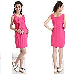Comfortable Women's Maternity Dress Pink Cotton Maternity Dress X-Large