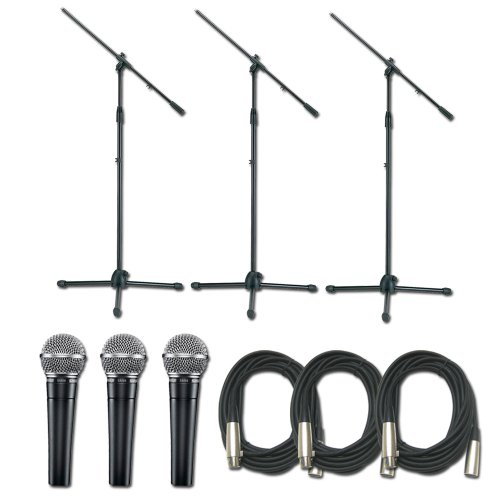 Shure Sm58S Mic Triple Pack W/(3)Stands (3)Cable