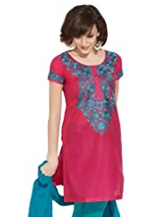 Lovely Lady Women's Cotton Eternally Stylish Embroidered Dark Pink Kurta