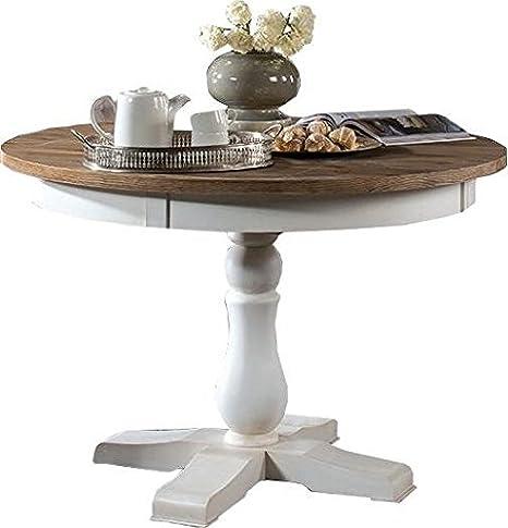 Runder Massivholz Esstisch 115x115 cm Kiefer teilmassiv, Farbe: Weiß