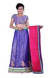 Sonika Royal Blue & Pink Net 3 Piece Lehenga Choli