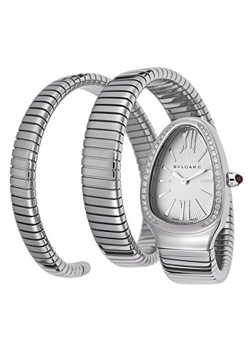 Bulgari Women's Serpenti Diamond Silver Textured Dial Flexible SS Double Wrap-Around