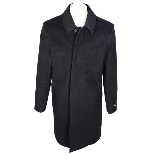 Thomas Brooks Mens Black Overcoat Luxury Italian Fabric Wool and Cashmere in Size XLarge