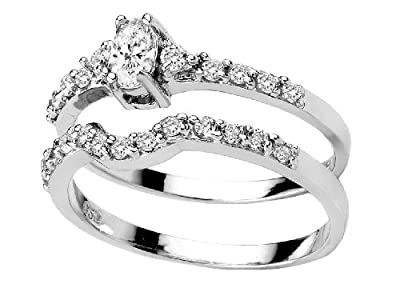 """Oval Cut Cubic Zirconia Sterling Silver platinum plated 2Pc """" Past, Present, Future"""" Engagement Wedding Ring Set Available in sizes 5 to 8 from 1800skull"""
