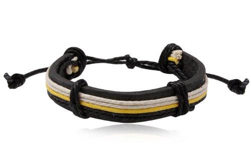 Fashion Multicolour Leather Wrap Cuff Rasta Bracelet Men's Jewelry