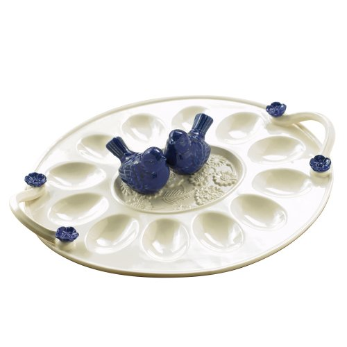 Grasslands Road American Bloom Ceramic Egg Plate with Blue Bird Salt and Pepper Shakers, 12-Inch, Gift Boxed