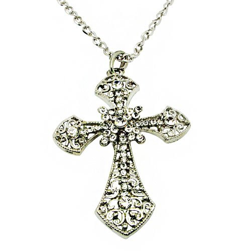 Flower Design Cross Pendant Necklace with Rhinestones Inlay