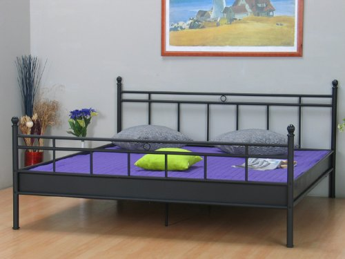 gong gede metallbett bett 140x200 schwarz doppelbett ehebett neu. Black Bedroom Furniture Sets. Home Design Ideas