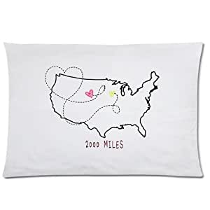Cute Long Distance Pillow : Amazon.com - Long Distance Pillow Case - Cute Long Distance Love Rectangle Pillowcase 20x30 inch ...