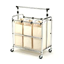 3-Bag LaundrySeville Classics  Sorter Cart With Hanging Bar