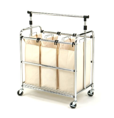 Seville Classics SHE16165 3-Bag Laundry Sorter Cart With Hanging Bar