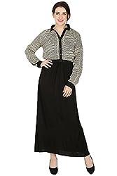 Wintage Women Collar Neck Full Sleeves Black edMaxi Dress