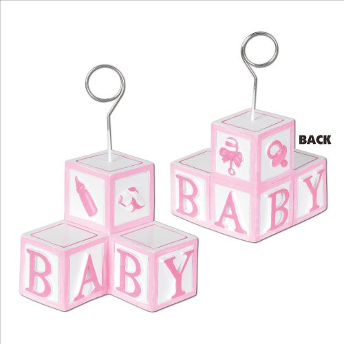 Baby Blocks Photo/Balloon Holder (pink) Party Accessory  (1 count)