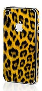 iphone4 /4s Sticker, Apple iPhone 4 /4S Aluminium Protective Sticker Skin Full Body Matte (Anti Finger Anti Glare Screen Protector Guard Film - 2 pack) for Luxury looks Diamond Cutting (Leopard Yellow)
