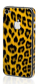 Apple Iphone 4/4S Aluminium Protective Sticker Skin Full Body Matte (Anti Finger Anti Glare Screen Protector Guard Film - 2 Pack) For Luxury Looks Diamond Cutting (Leopard Yellow)