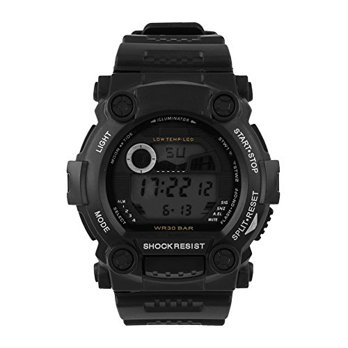 {Factory Direct Sale} Cool Army Style Silicone Mens Pilot Waterproof Digital Led Light Sports Quartz Wrist Watch Color Black - Christmas Gift