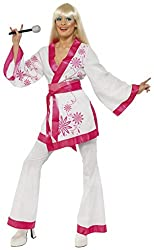 Smiffy's Women's Mini Kimonos Costume Kimonos Top with Belt and Flares 1970's Style, White/Pink, Medium