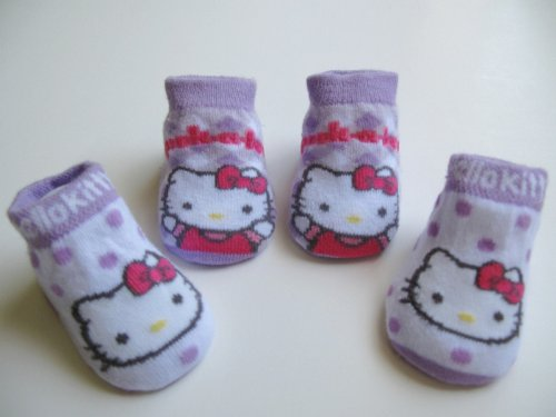 Hello Kitty Newborn Infants Baby Purple with Polka Dot and Checker/ Plaid Design Booties 0-12months Two Pairs; New in Box + FREE 3.5MM ANTI DUST PLUG RANDOM PICK