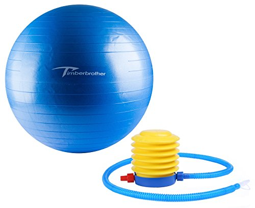 Timberbrother Exercise Stability Ball / Fitness Ball / Balance Ball with Pump (Blue, 65cm)