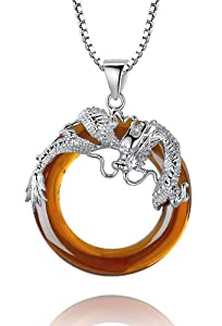 Sterling Silver Dragon W. Orange Onyx Ring Pendant Necklace Come with Italian Box Chain - Sy014n2