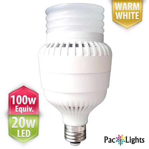 Paclights Ultra100 Performance Led Light Bulb 20-Watt, Warm White, 100W Equivalent Replacement (1400 Lumens), E26 Medium Base With E40 Mogul Adapter