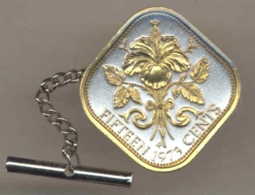 Gorgeous 2-Toned Gold on Silver World Coin Tie-Tack-113TT