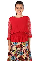 Vteens Women's Synthetic Top (vt1528-S_Red_Small)