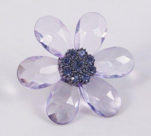New Huge Genuine Lavender Crystal Flower Stretch Rings