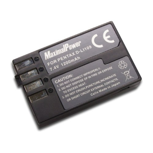 MaximalPower Rechargeable Li-ion Replacement Battery 1200mAh for Pentax D-LI109/DLI109, Pentax K-R/KR/K2/K-2 DSLR Cameras