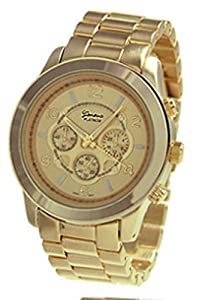 Unisex Faux Chronograph Watch Gold